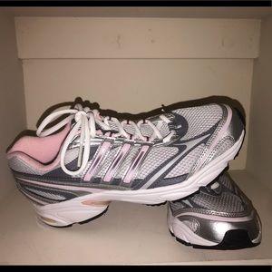 Pink Adidas women's running shoes